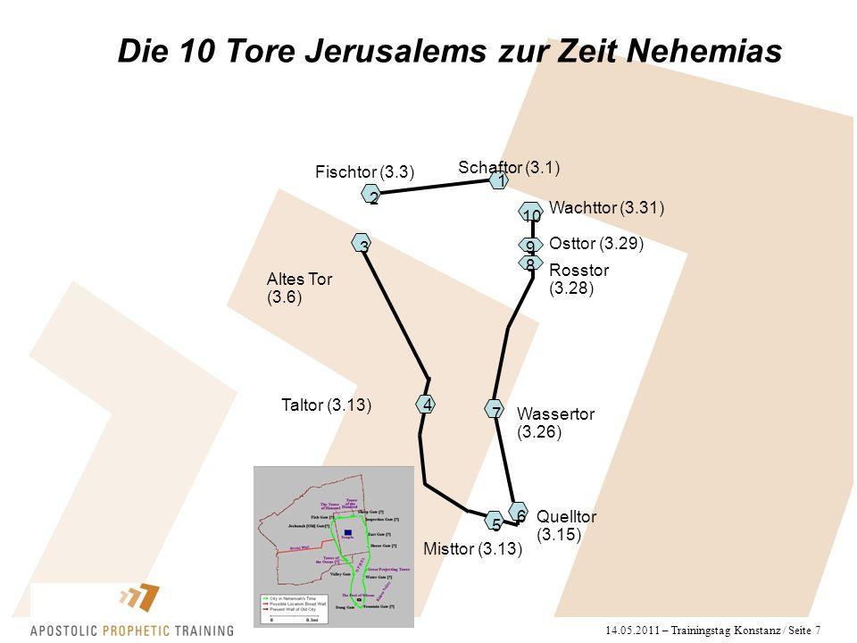 14.05.2011 – Trainingstag Konstanz / Seite 7 Die 10 Tore Jerusalems zur Zeit Nehemias Schaftor (3.1) Fischtor (3.3) Altes Tor (3.6) Taltor (3.13) Misttor (3.13) Quelltor (3.15) Wassertor (3.26) Rosstor (3.28) Osttor (3.29) Wachttor (3.31) 1 2 3 4 5 6 7 8 9 10