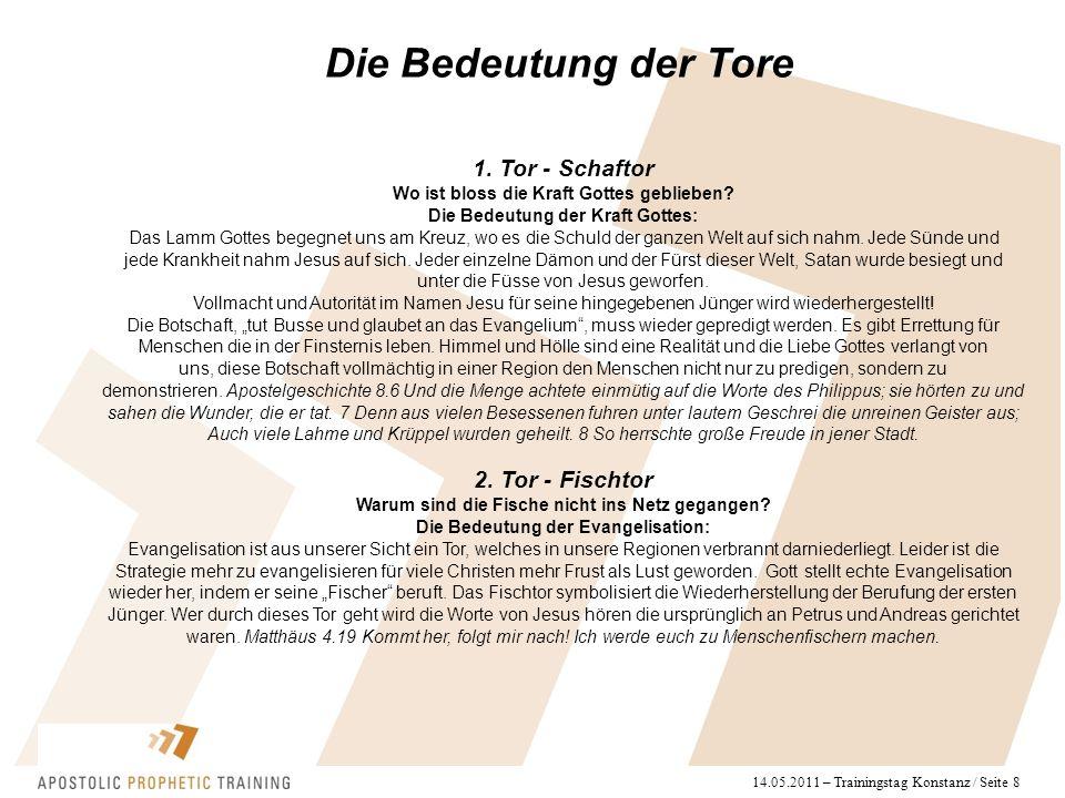 14.05.2011 – Trainingstag Konstanz / Seite 8 Die Bedeutung der Tore 1. Tor - Schaftor Wo ist bloss die Kraft Gottes geblieben? Die Bedeutung der Kraft