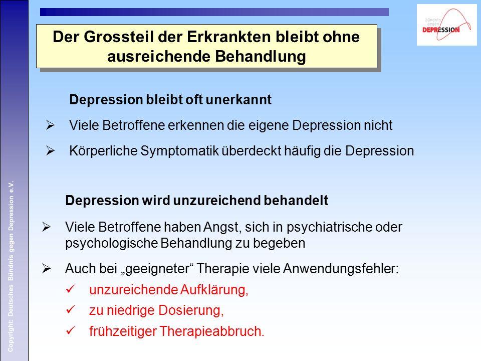 Copyright: Deutsches Bündnis gegen Depression e.V. Der Grossteil der Erkrankten bleibt ohne ausreichende Behandlung Depression wird unzureichend behan