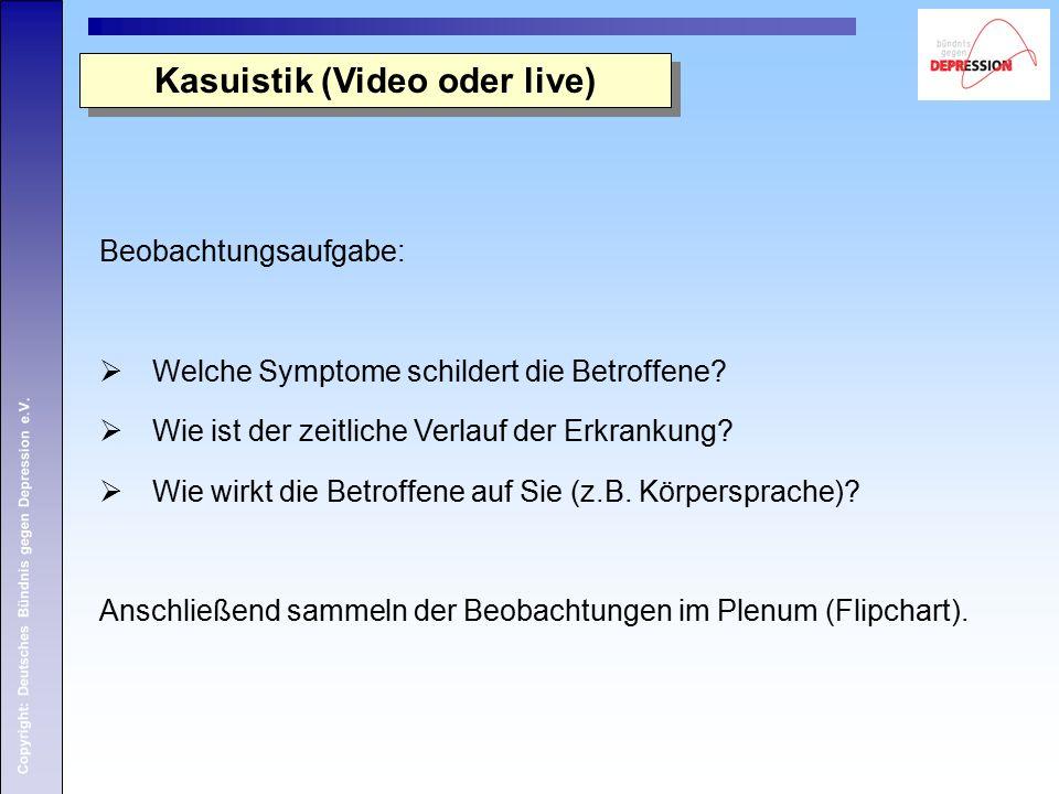 Copyright: Deutsches Bündnis gegen Depression e.V. Kasuistik (Video oder live) Beobachtungsaufgabe:  Welche Symptome schildert die Betroffene?  Wie