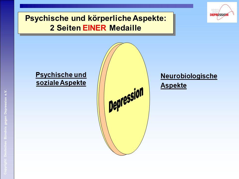 Copyright: Deutsches Bündnis gegen Depression e.V. Psychische und körperliche Aspekte: 2 Seiten EINER Medaille Psychische und körperliche Aspekte: 2 S