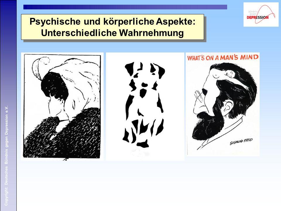 Copyright: Deutsches Bündnis gegen Depression e.V. Psychische und körperliche Aspekte: Unterschiedliche Wahrnehmung Psychische und körperliche Aspekte