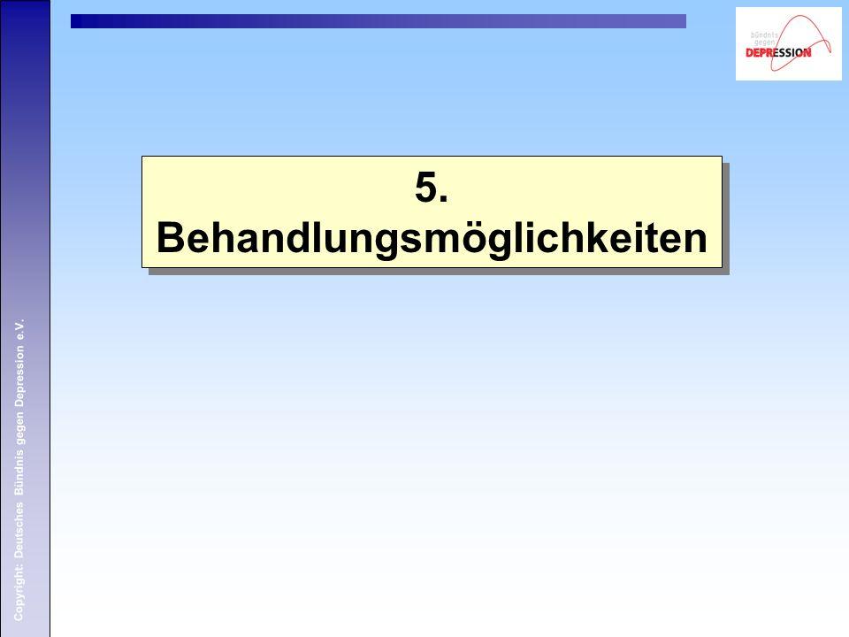 Copyright: Deutsches Bündnis gegen Depression e.V. 5. Behandlungsmöglichkeiten 5. Behandlungsmöglichkeiten