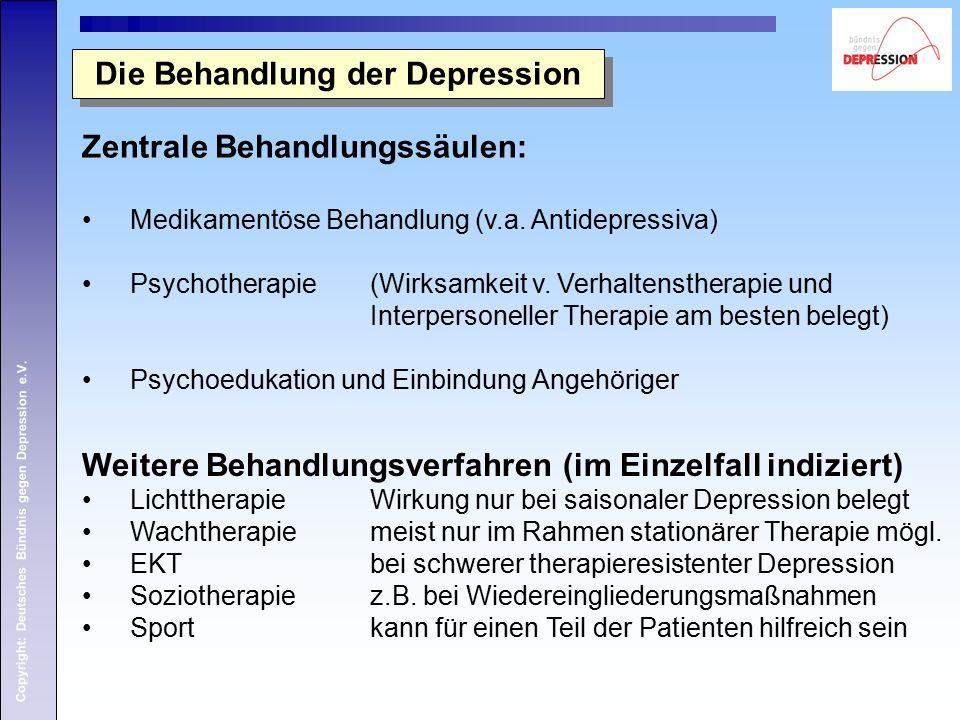 Copyright: Deutsches Bündnis gegen Depression e.V. Die Behandlung der Depression Zentrale Behandlungssäulen: Medikamentöse Behandlung (v.a. Antidepres