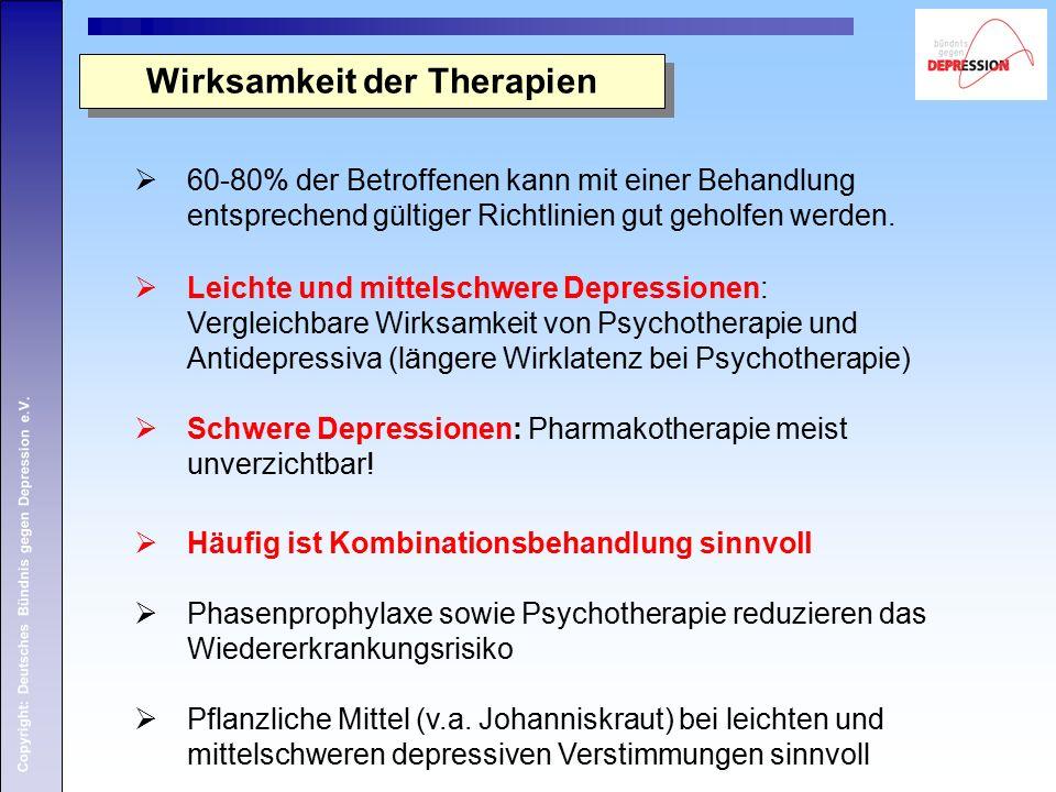 Copyright: Deutsches Bündnis gegen Depression e.V.  60-80% der Betroffenen kann mit einer Behandlung entsprechend gültiger Richtlinien gut geholfen w
