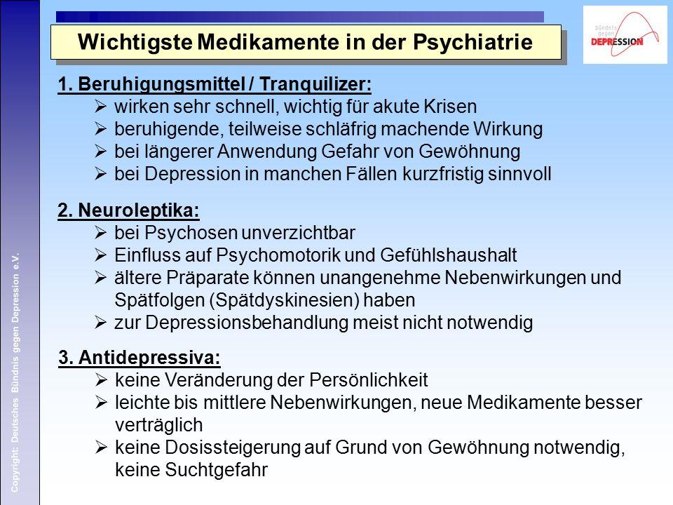 Copyright: Deutsches Bündnis gegen Depression e.V. 1. Beruhigungsmittel / Tranquilizer:  wirken sehr schnell, wichtig für akute Krisen  beruhigende,