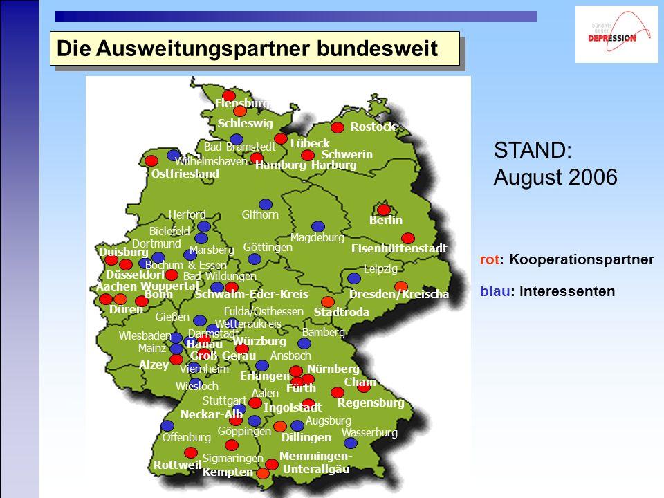 Copyright: Deutsches Bündnis gegen Depression e.V. Die Ausweitungspartner bundesweit rot: Kooperationspartner blau: Interessenten