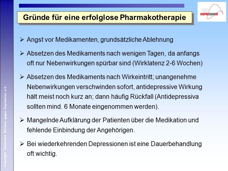 Copyright: Deutsches Bündnis gegen Depression e.V.  Angst vor Medikamenten, grundsätzliche Ablehnung  Absetzen des Medikaments nach wenigen Tagen, d
