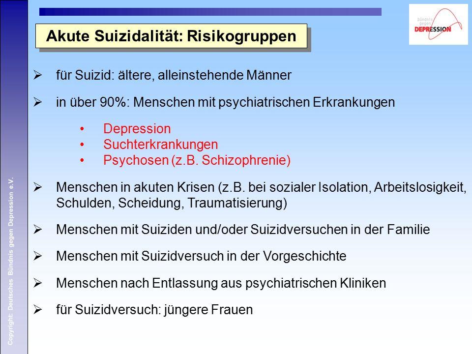 Copyright: Deutsches Bündnis gegen Depression e.V. Akute Suizidalität: Risikogruppen  für Suizid: ältere, alleinstehende Männer  in über 90%: Mensch