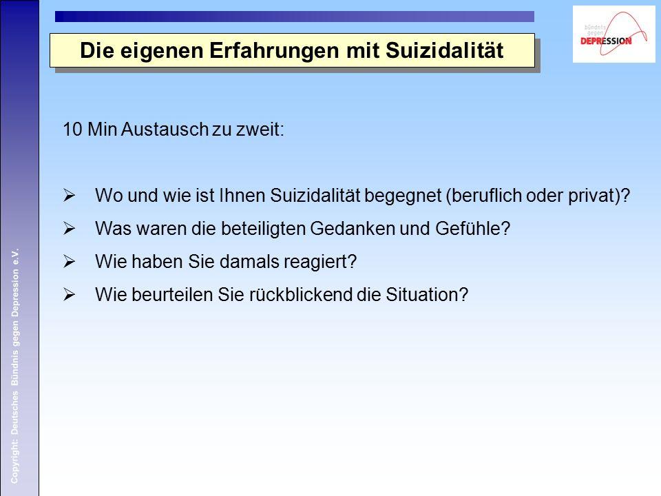 Copyright: Deutsches Bündnis gegen Depression e.V. Die eigenen Erfahrungen mit Suizidalität 10 Min Austausch zu zweit:  Wo und wie ist Ihnen Suizidal
