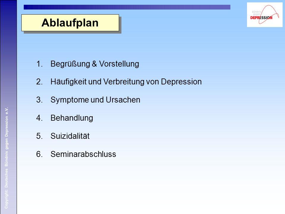 Copyright: Deutsches Bündnis gegen Depression e.V. 1.Begrüßung & Vorstellung 2.Häufigkeit und Verbreitung von Depression 3.Symptome und Ursachen 4.Beh