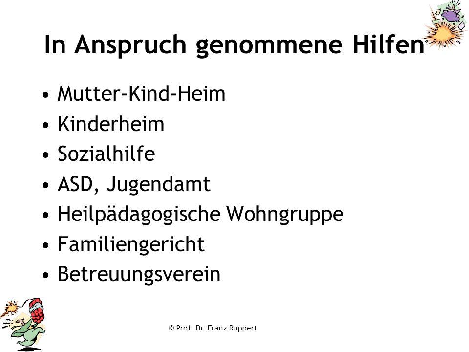 © Prof. Dr. Franz Ruppert In Anspruch genommene Hilfen Mutter-Kind-Heim Kinderheim Sozialhilfe ASD, Jugendamt Heilpädagogische Wohngruppe Familiengeri