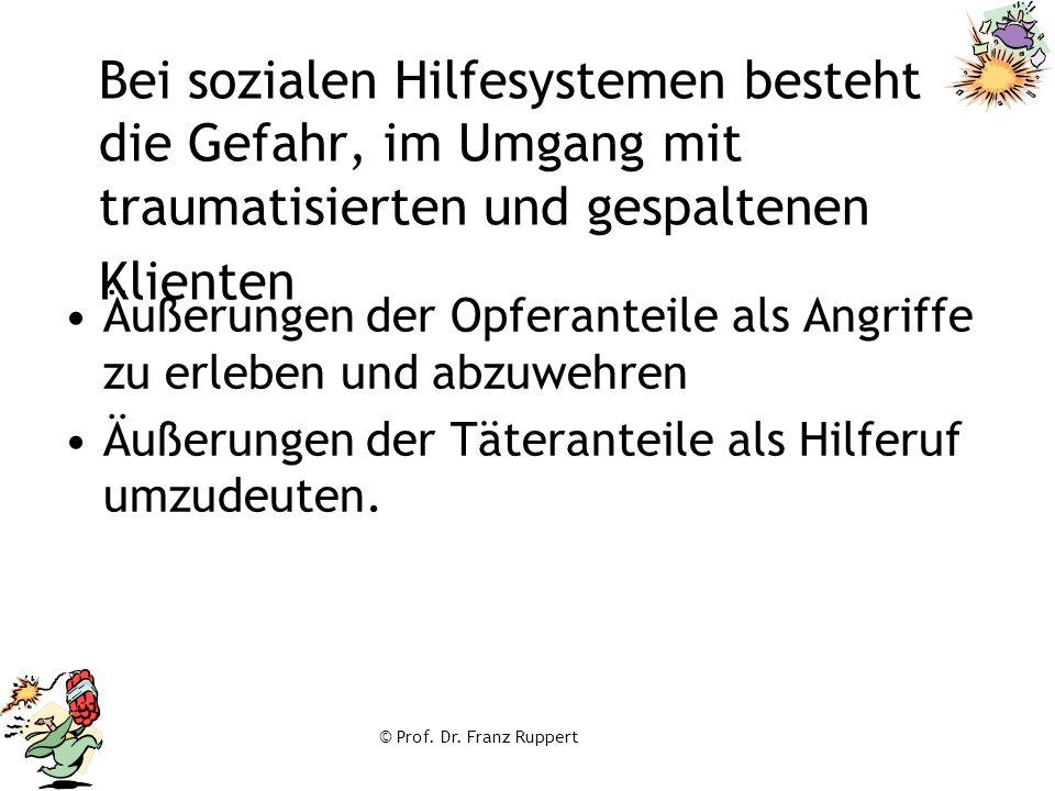 © Prof. Dr. Franz Ruppert Bei sozialen Hilfesystemen besteht die Gefahr, im Umgang mit traumatisierten und gespaltenen Klienten Äußerungen der Opferan