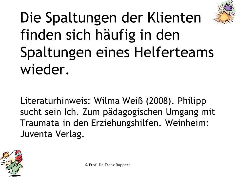 © Prof. Dr. Franz Ruppert Die Spaltungen der Klienten finden sich häufig in den Spaltungen eines Helferteams wieder. Literaturhinweis: Wilma Weiß (200