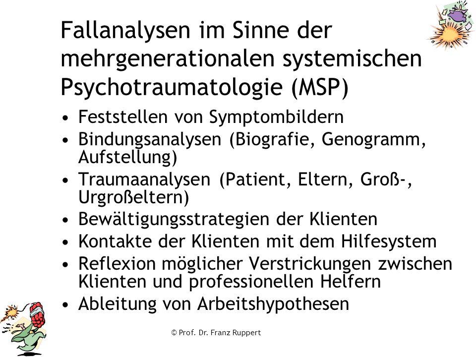 © Prof. Dr. Franz Ruppert Fallanalysen im Sinne der mehrgenerationalen systemischen Psychotraumatologie (MSP) Feststellen von Symptombildern Bindungsa