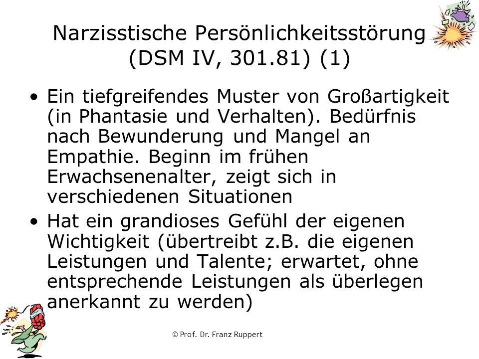 © Prof. Dr. Franz Ruppert Narzisstische Persönlichkeitsstörung (DSM IV, 301.81) (1) Ein tiefgreifendes Muster von Großartigkeit (in Phantasie und Verh