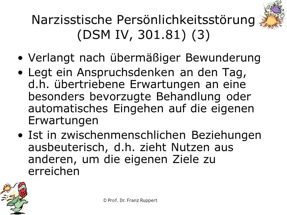 © Prof. Dr. Franz Ruppert Narzisstische Persönlichkeitsstörung (DSM IV, 301.81) (3) Verlangt nach übermäßiger Bewunderung Legt ein Anspruchsdenken an