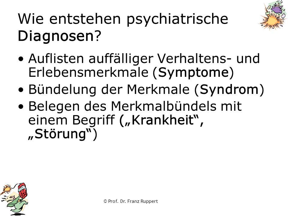 © Prof. Dr. Franz Ruppert Wie entstehen psychiatrische Diagnosen? Auflisten auffälliger Verhaltens- und Erlebensmerkmale (Symptome) Bündelung der Merk