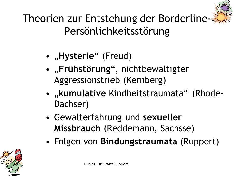 """© Prof. Dr. Franz Ruppert Theorien zur Entstehung der Borderline- Persönlichkeitsstörung """"Hysterie"""" (Freud) """"Frühstörung"""", nichtbewältigter Aggression"""