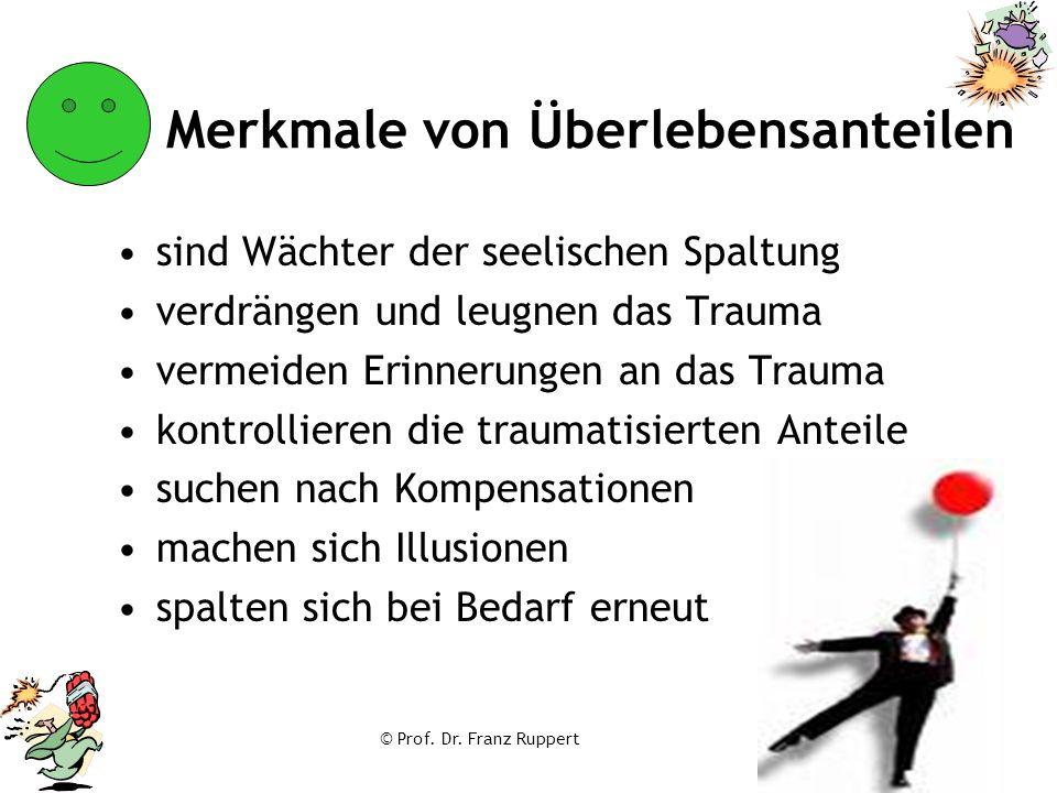 © Prof. Dr. Franz Ruppert Merkmale von Überlebensanteilen sind Wächter der seelischen Spaltung verdrängen und leugnen das Trauma vermeiden Erinnerunge