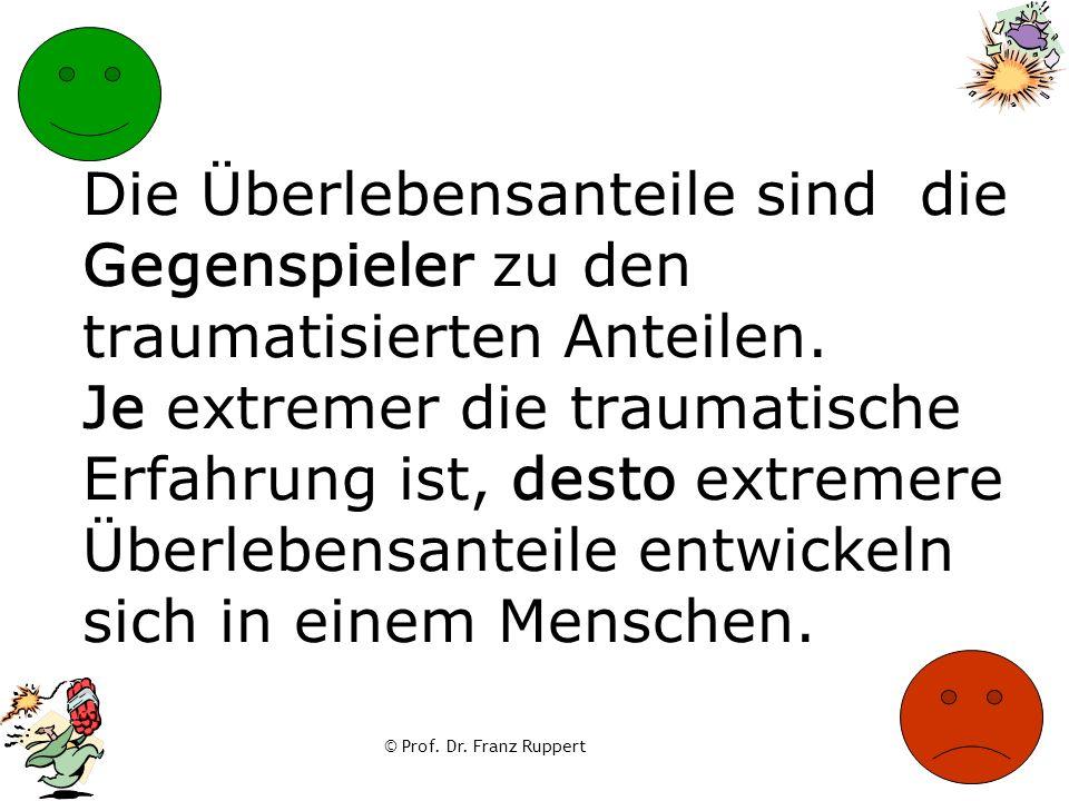 © Prof. Dr. Franz Ruppert Die Überlebensanteile sind die Gegenspieler zu den traumatisierten Anteilen. Je extremer die traumatische Erfahrung ist, des