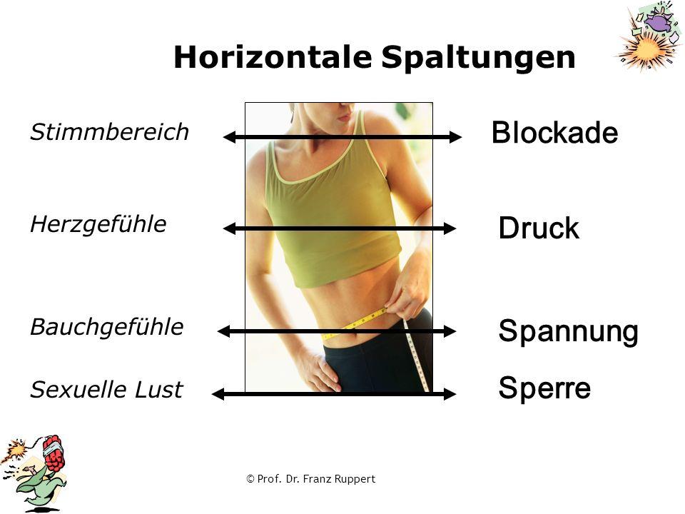 © Prof. Dr. Franz Ruppert Horizontale Spaltungen Sexuelle Lust Stimmbereich Herzgefühle Bauchgefühle Blockade Druck Spannung Sperre