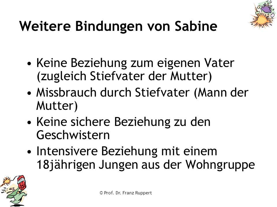 © Prof. Dr. Franz Ruppert Weitere Bindungen von Sabine Keine Beziehung zum eigenen Vater (zugleich Stiefvater der Mutter) Missbrauch durch Stiefvater
