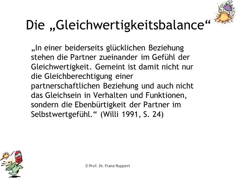"""© Prof. Dr. Franz Ruppert Die """"Gleichwertigkeitsbalance"""" """"In einer beiderseits glücklichen Beziehung stehen die Partner zueinander im Gefühl der Gleic"""