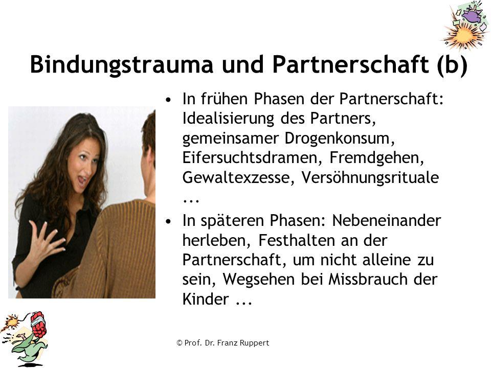 © Prof. Dr. Franz Ruppert Bindungstrauma und Partnerschaft (b) In frühen Phasen der Partnerschaft: Idealisierung des Partners, gemeinsamer Drogenkonsu