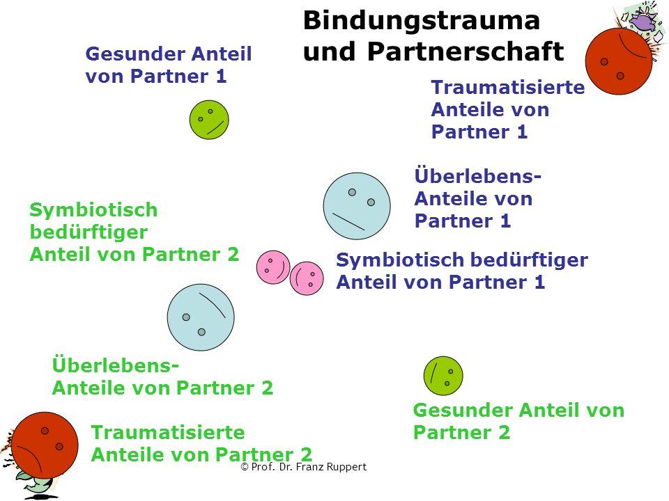 © Prof. Dr. Franz Ruppert Symbiotisch bedürftiger Anteil von Partner 1 Traumatisierte Anteile von Partner 1 Bindungstrauma und Partnerschaft Traumatis