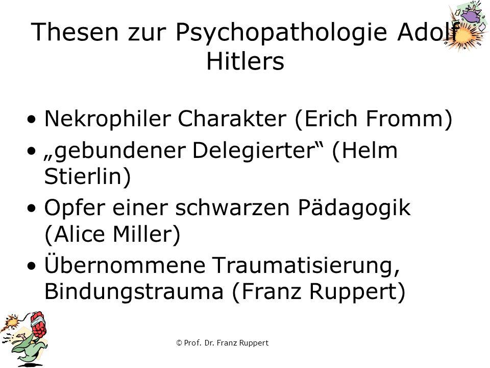 """Thesen zur Psychopathologie Adolf Hitlers Nekrophiler Charakter (Erich Fromm) """"gebundener Delegierter"""" (Helm Stierlin) Opfer einer schwarzen Pädagogik"""