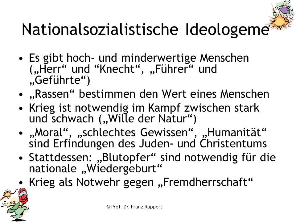 """© Prof. Dr. Franz Ruppert Nationalsozialistische Ideologeme Es gibt hoch- und minderwertige Menschen (""""Herr"""" und """"Knecht"""", """"Führer"""" und """"Geführte"""") """"R"""