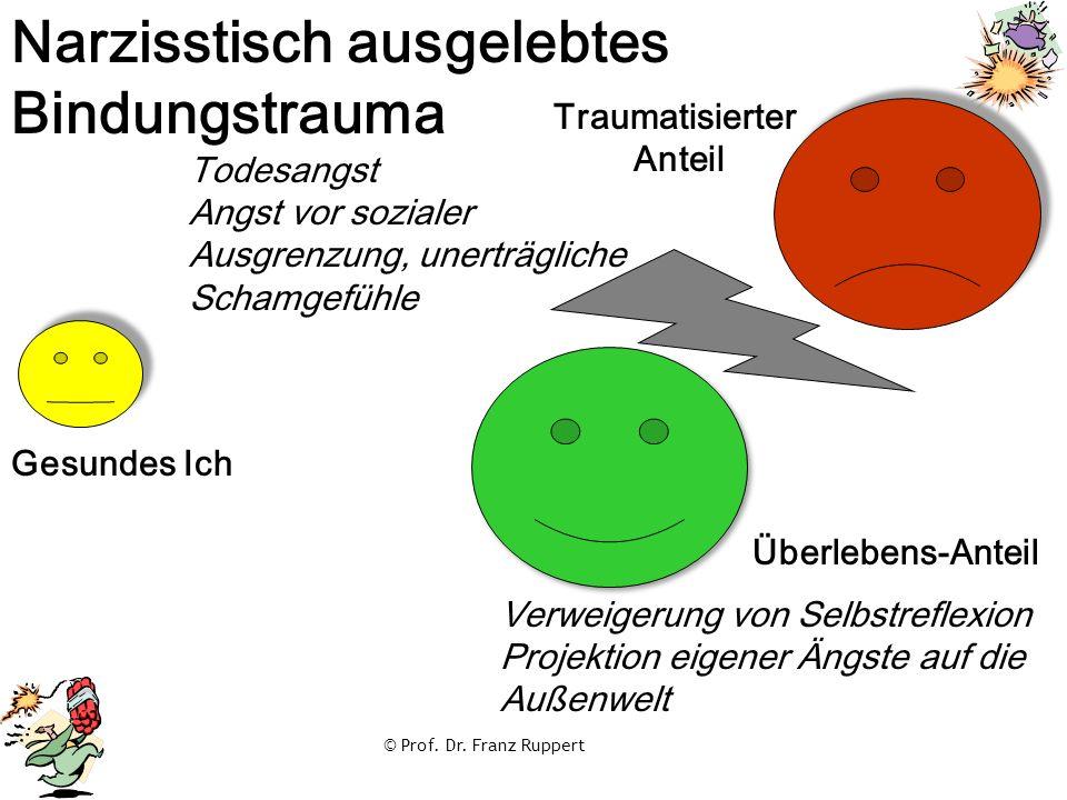 © Prof. Dr. Franz Ruppert Überlebens-Anteil Traumatisierter Anteil Narzisstisch ausgelebtes Bindungstrauma Gesundes Ich Todesangst Angst vor sozialer