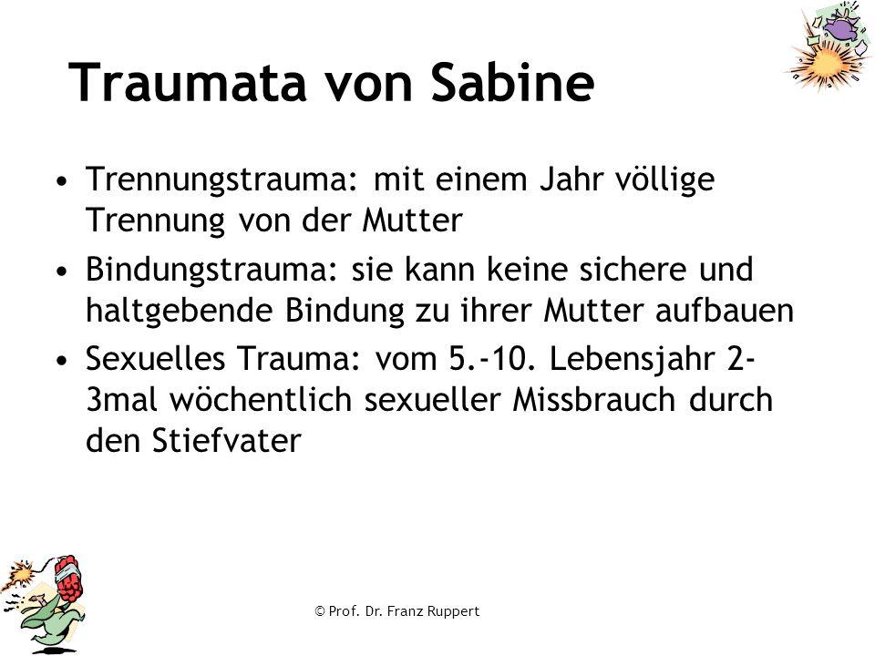 © Prof. Dr. Franz Ruppert Traumata von Sabine Trennungstrauma: mit einem Jahr völlige Trennung von der Mutter Bindungstrauma: sie kann keine sichere u