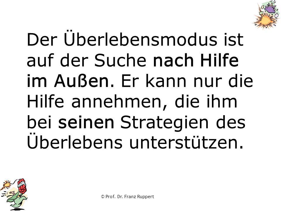 © Prof. Dr. Franz Ruppert Der Überlebensmodus ist auf der Suche nach Hilfe im Außen. Er kann nur die Hilfe annehmen, die ihm bei seinen Strategien des