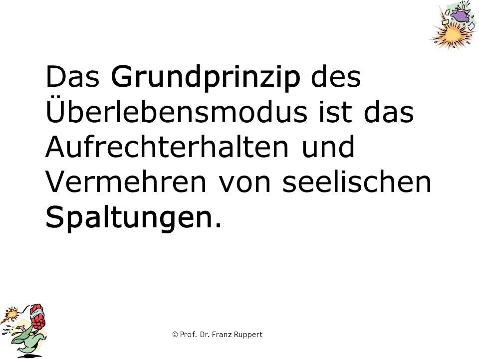 © Prof. Dr. Franz Ruppert Das Grundprinzip des Überlebensmodus ist das Aufrechterhalten und Vermehren von seelischen Spaltungen.