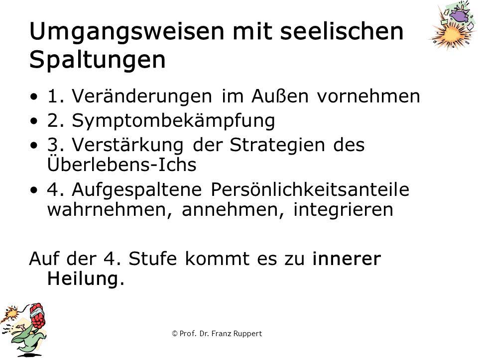 © Prof. Dr. Franz Ruppert Umgangsweisen mit seelischen Spaltungen 1. Veränderungen im Außen vornehmen 2. Symptombekämpfung 3. Verstärkung der Strategi