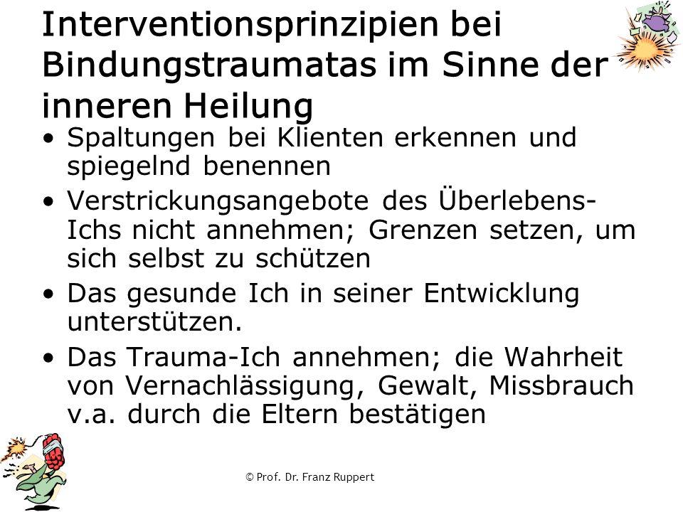 © Prof. Dr. Franz Ruppert Interventionsprinzipien bei Bindungstraumatas im Sinne der inneren Heilung Spaltungen bei Klienten erkennen und spiegelnd be