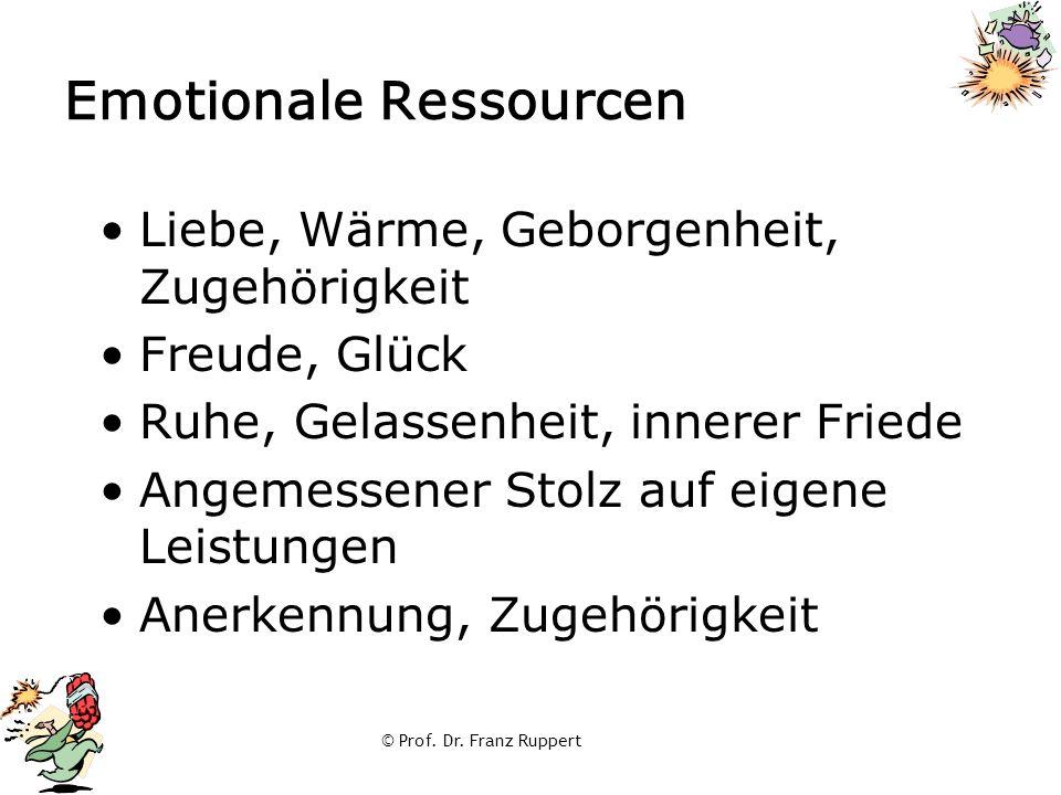 © Prof. Dr. Franz Ruppert Emotionale Ressourcen Liebe, Wärme, Geborgenheit, Zugehörigkeit Freude, Glück Ruhe, Gelassenheit, innerer Friede Angemessene