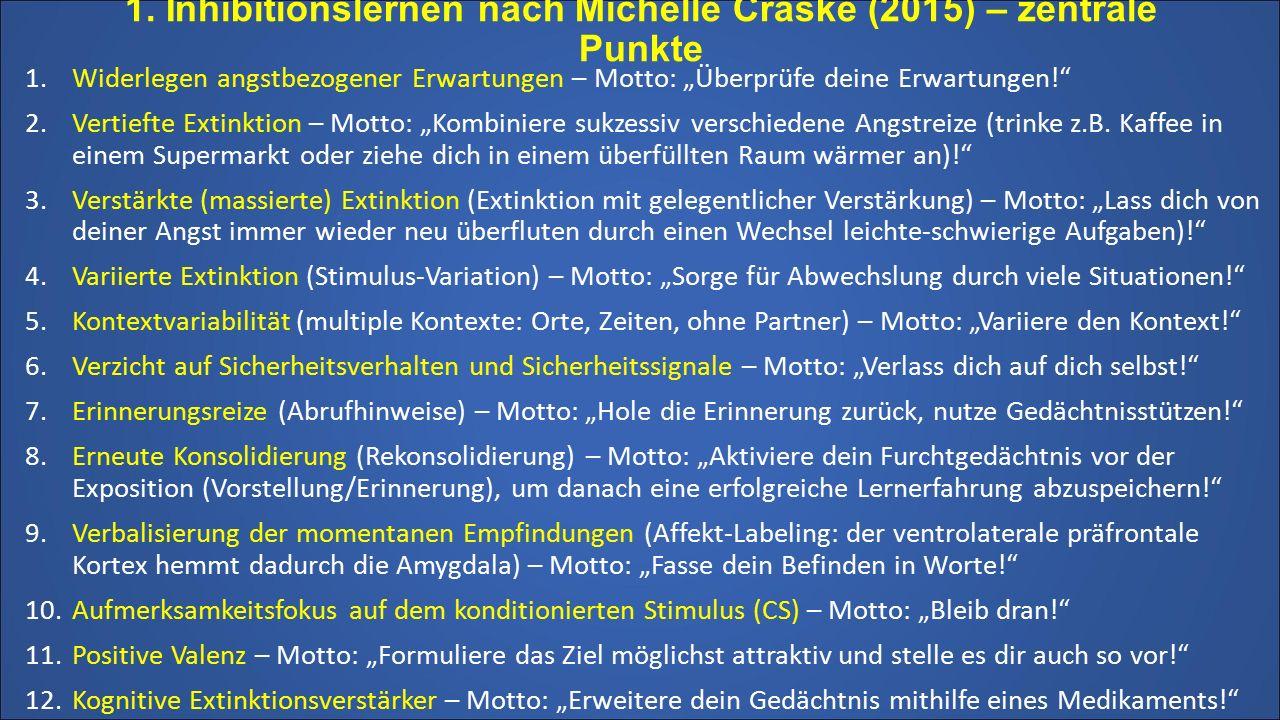 """1. Inhibitionslernen nach Michelle Craske (2015) – zentrale Punkte 1.Widerlegen angstbezogener Erwartungen – Motto: """"Überprüfe deine Erwartungen!"""" 2.V"""