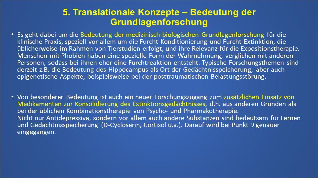 5. Translationale Konzepte – Bedeutung der Grundlagenforschung Es geht dabei um die Bedeutung der medizinisch-biologischen Grundlagenforschung für die