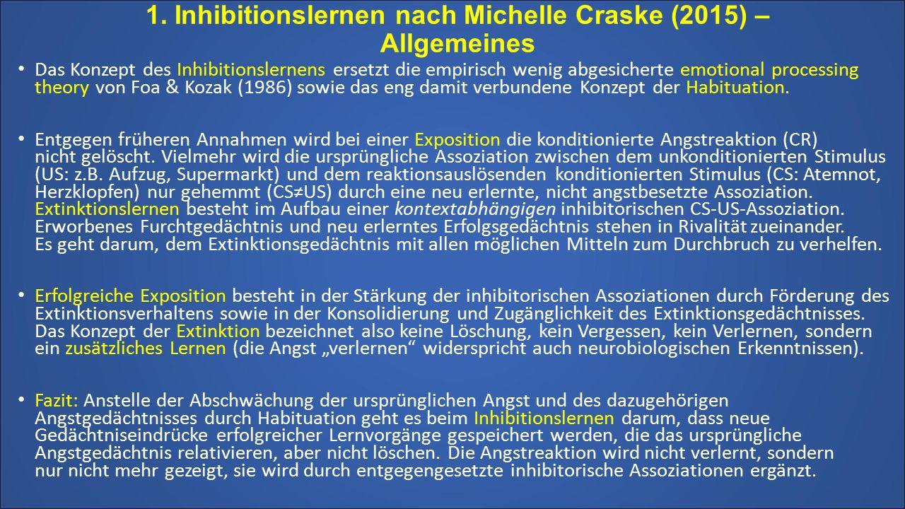 1. Inhibitionslernen nach Michelle Craske (2015) – Allgemeines Das Konzept des Inhibitionslernens ersetzt die empirisch wenig abgesicherte emotional p