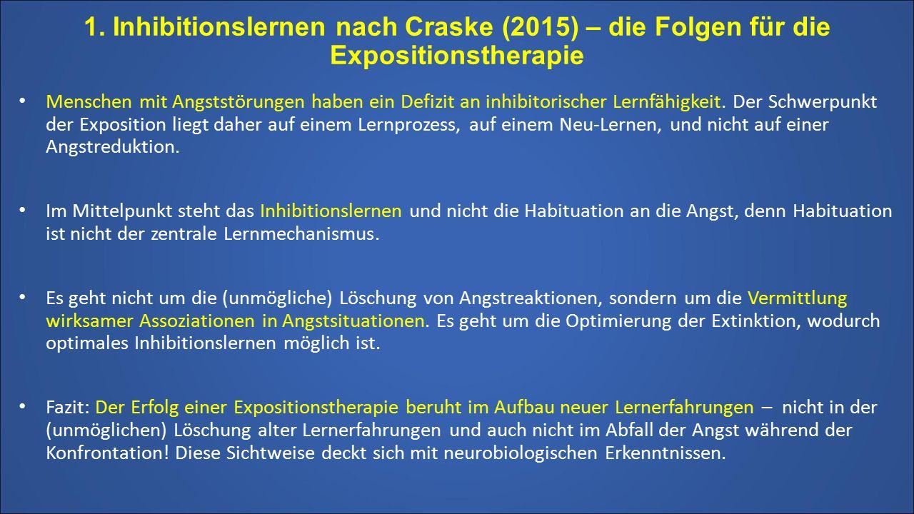 1. Inhibitionslernen nach Craske (2015) – die Folgen für die Expositionstherapie Menschen mit Angststörungen haben ein Defizit an inhibitorischer Lern
