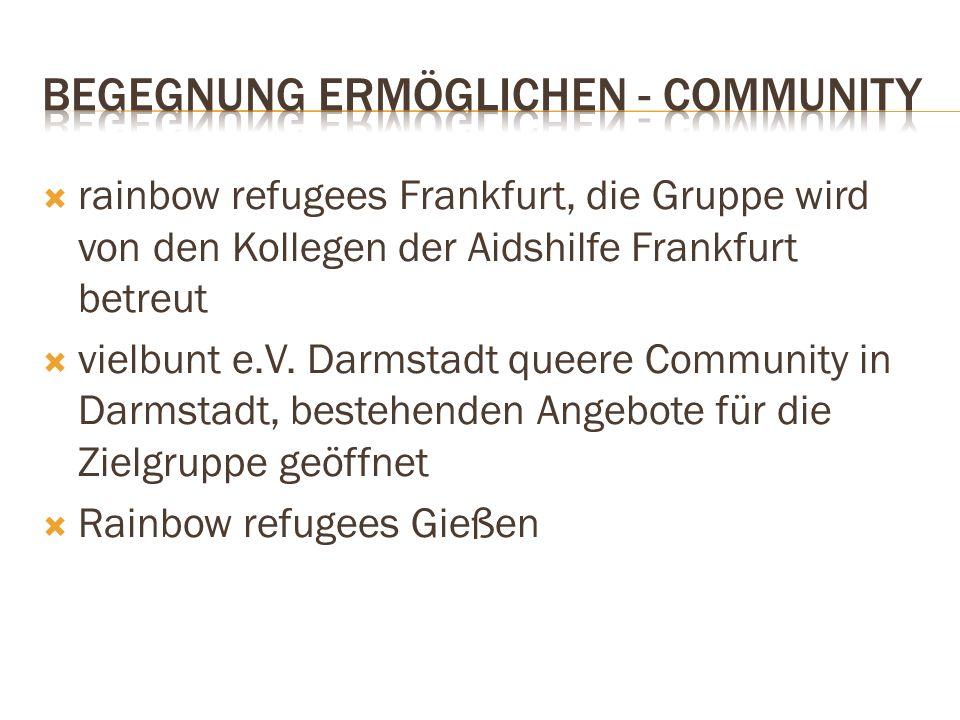  rainbow refugees Frankfurt, die Gruppe wird von den Kollegen der Aidshilfe Frankfurt betreut  vielbunt e.V. Darmstadt queere Community in Darmstadt