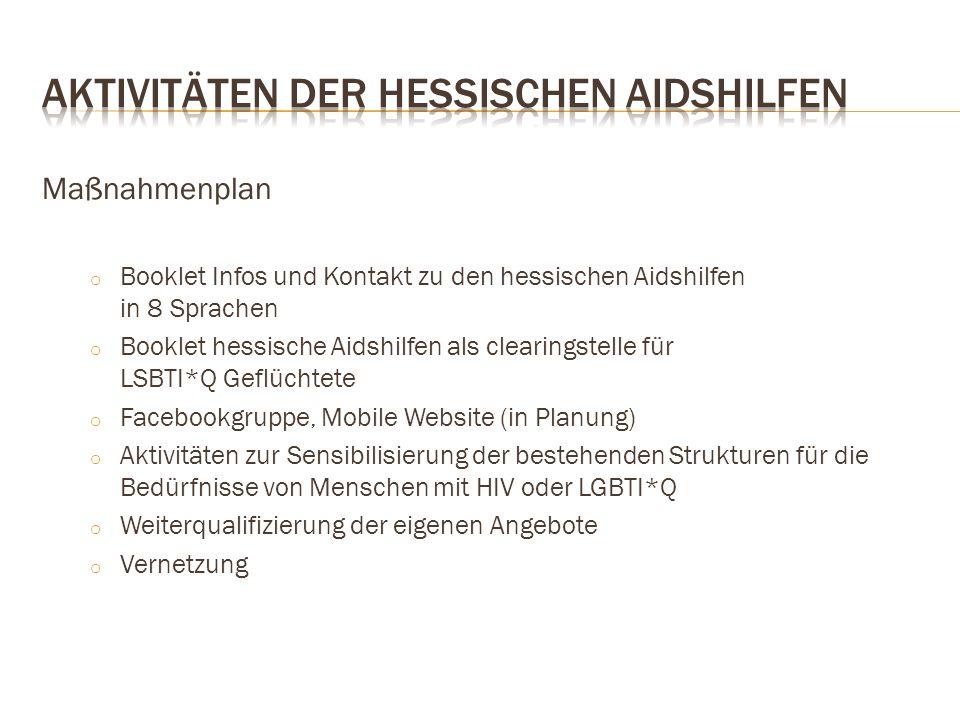 Maßnahmenplan o Booklet Infos und Kontakt zu den hessischen Aidshilfen in 8 Sprachen o Booklet hessische Aidshilfen als clearingstelle für LSBTI*Q Gef