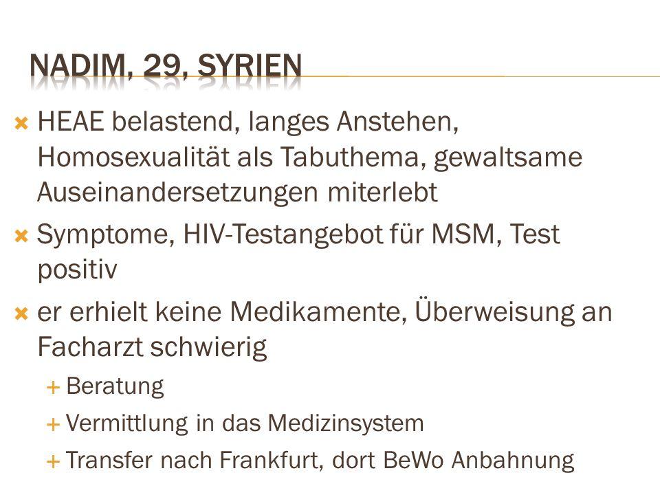  HEAE belastend, langes Anstehen, Homosexualität als Tabuthema, gewaltsame Auseinandersetzungen miterlebt  Symptome, HIV-Testangebot für MSM, Test p