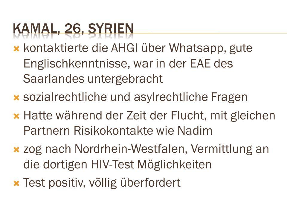  kontaktierte die AHGI über Whatsapp, gute Englischkenntnisse, war in der EAE des Saarlandes untergebracht  sozialrechtliche und asylrechtliche Frag