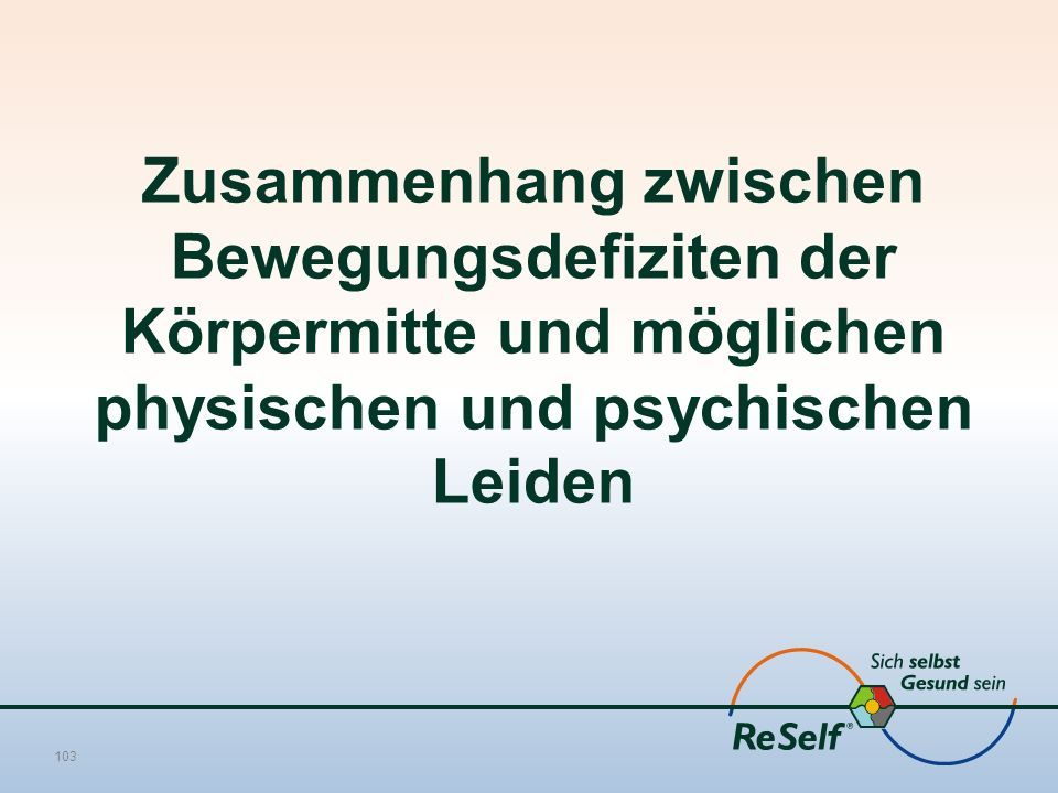 Zusammenhang zwischen Bewegungsdefiziten der Körpermitte und möglichen physischen und psychischen Leiden 103