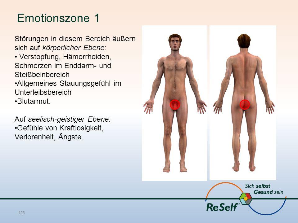 Emotionszone 1 Störungen in diesem Bereich äußern sich auf körperlicher Ebene: Verstopfung, Hämorrhoiden, Schmerzen im Enddarm- und Steißbeinbereich Allgemeines Stauungsgefühl im Unterleibsbereich Blutarmut.
