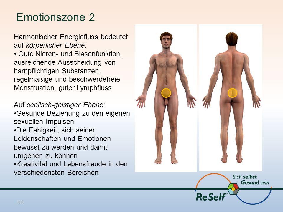 Emotionszone 2 Harmonischer Energiefluss bedeutet auf körperlicher Ebene: Gute Nieren- und Blasenfunktion, ausreichende Ausscheidung von harnpflichtigen Substanzen, regelmäßige und beschwerdefreie Menstruation, guter Lymphfluss.